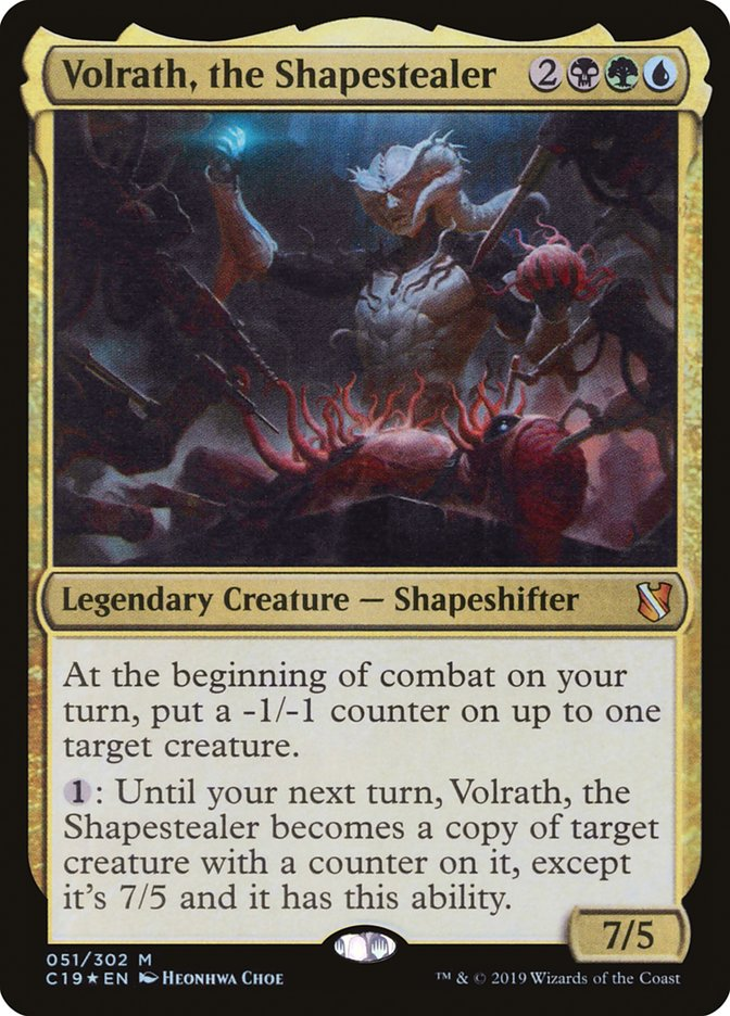 Volrath, the Shapestealer, a commander from the Faceless Menace deck