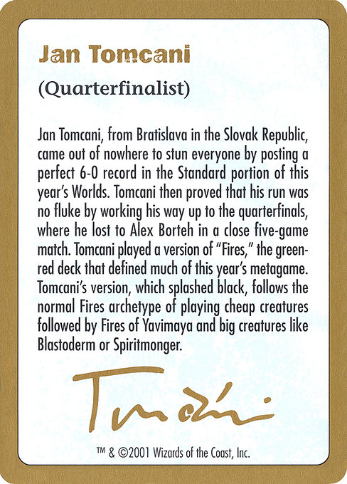 Jan Tomcani Bio (WC01)