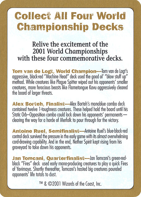 2001 World Championships Ad (WC01)