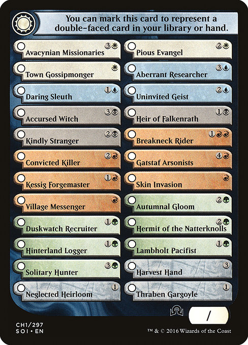 Shadows Over Innistrad Checklist 1 (TSOI)