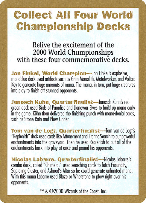 2000 World Championships Ad (WC00)