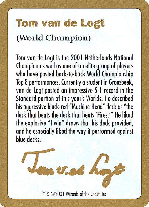 Tom van de Logt Bio (2001) (WC01)