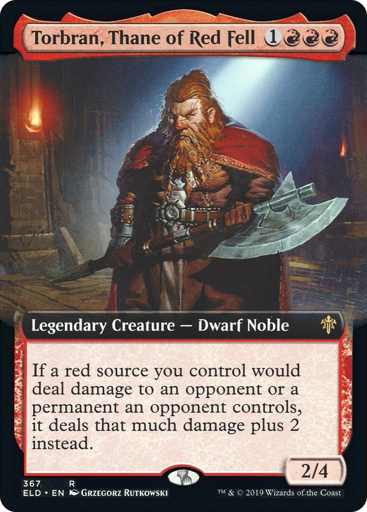 If a red source you control would deal damage to an opponent or a permanent an opponent controls, it deals that much damage plus 2 instead.