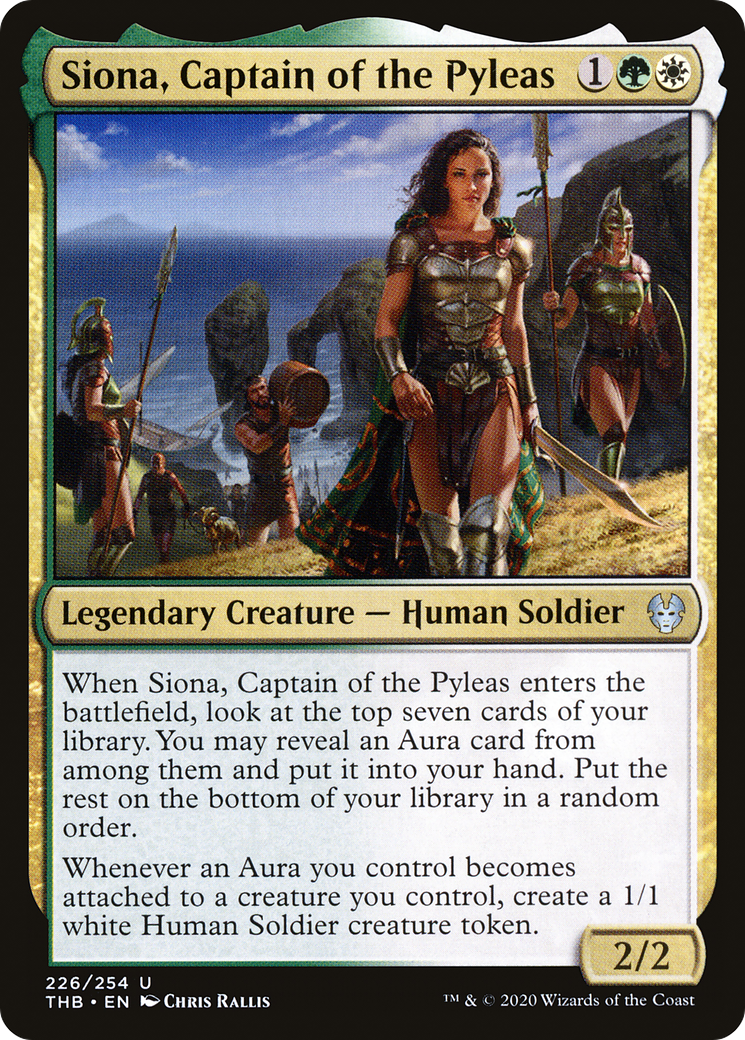 When Siona, Captain of the Pyleas enters the battlefield, look at the top seven cards of your library. You may reveal an Aura card from among them and put it into your hand. Put the rest on the bottom of your library in a random order. Whenever an Aura you control becomes attached to a creature you control, create a 1/1 white Human Soldier creature token.