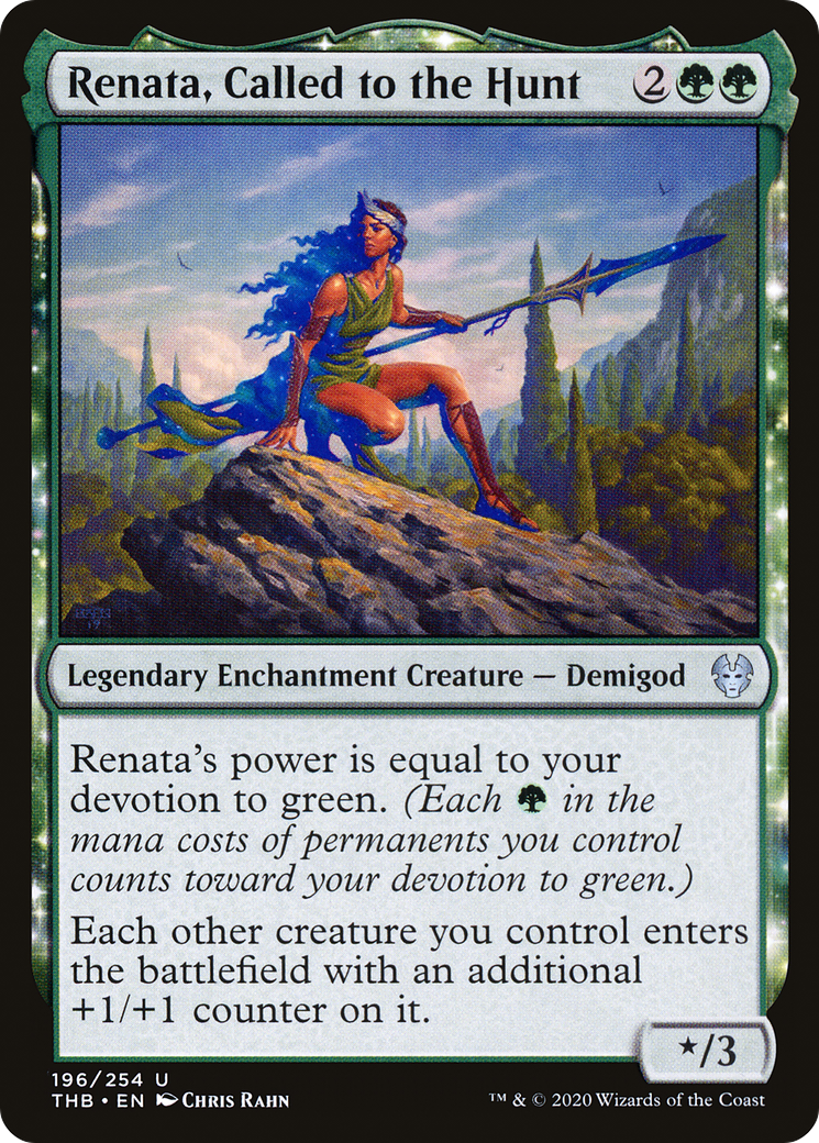 Renata's power is equal to your devotion to green. (Each {G} in the mana costs of permanents you control counts towards your devotion to green.) Each other creature you control enters the battlefield with an additional +1/+1 counter on it.