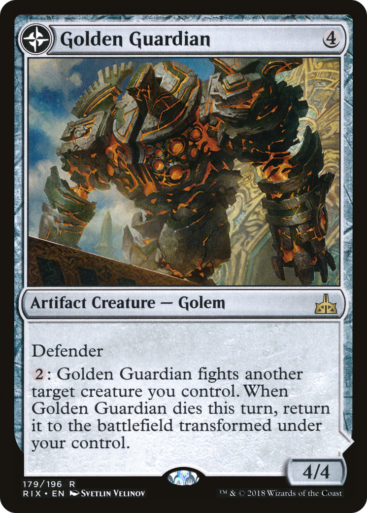 MtG * 4 x Golden Guardian //// Gold-Forge Garrison Rivals of Ixalan