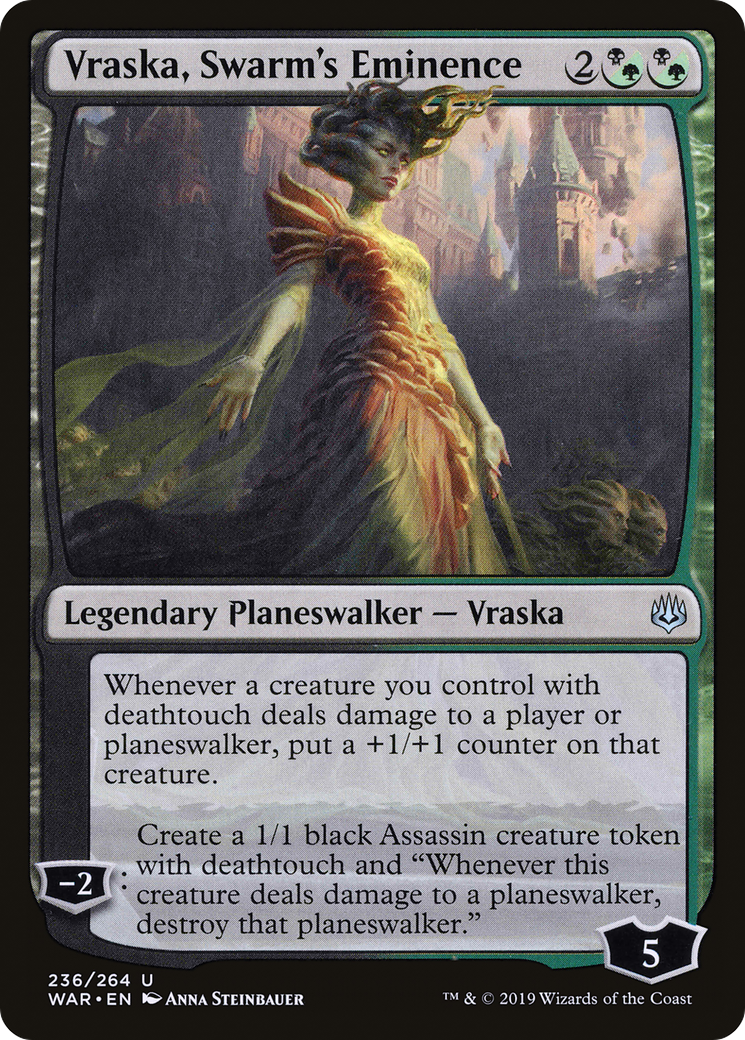 """Whenever a creature you control with deathtouch deals damage to a player or planeswalker, put a +1/+1 counter on that creature. −2: Create a 1/1 black Assassin creature token with deathtouch and """"Whenever this creature deals damage to a planeswalker, destroy that planeswalker."""""""