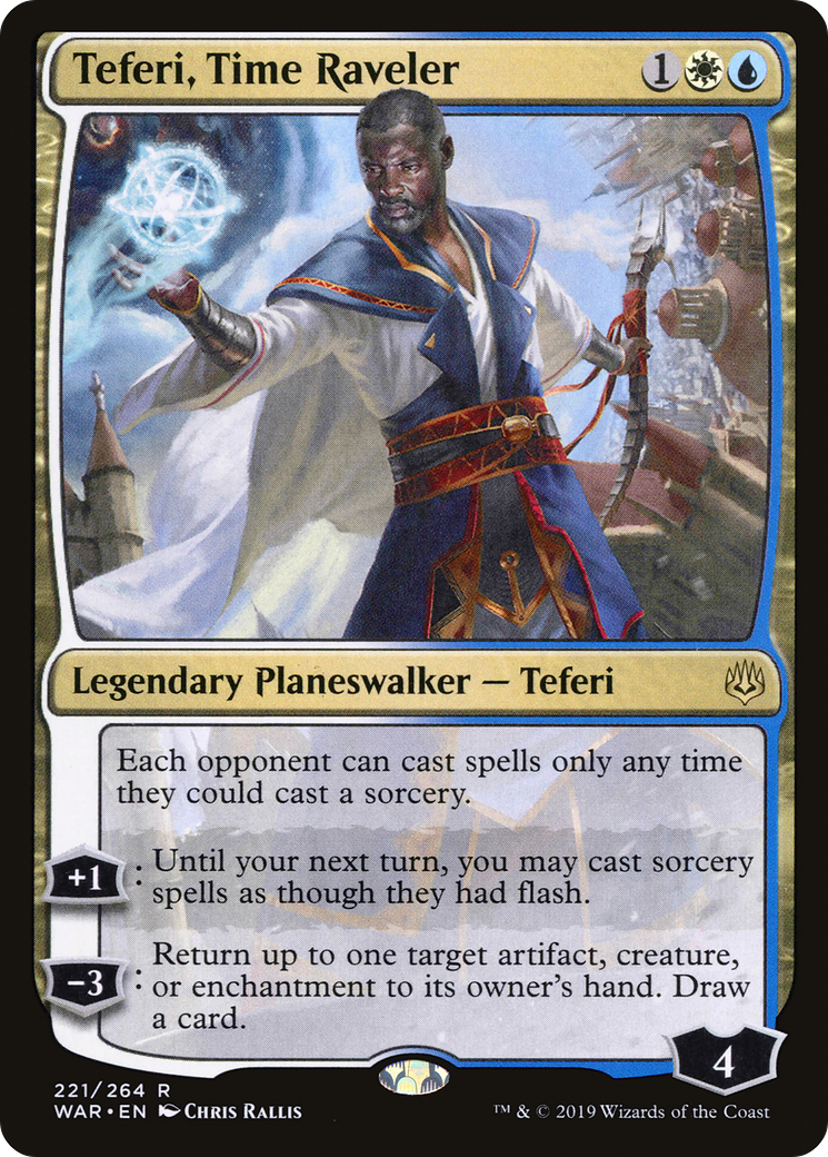 Each opponent can cast spells only any time they could cast a sorcery. +1: Until your next turn, you may cast sorcery spells as though they had flash. −3: Return up to one target artifact, creature, or enchantment to its owner's hand. Draw a card.