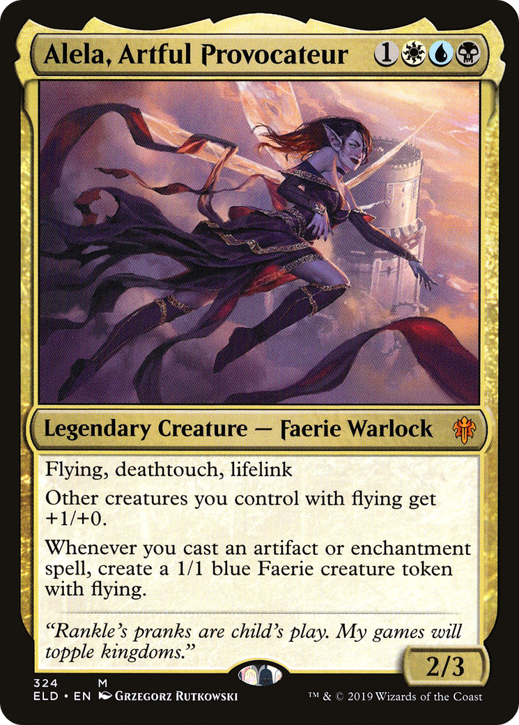 Flying, deathtouch, lifelink Other creatures you control with flying get +1/+0. Whenever you cast an artifact or enchantment spell, create a 1/1 blue Faerie creature token with flying.