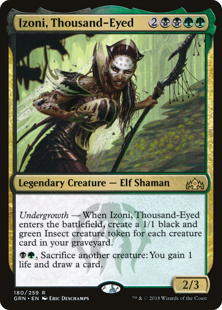 Undergrowth — When Izoni, Thousand-Eyed enters the battlefield, create a 1/1 black and green Insect creature token for each creature card in your graveyard. {B}{G}, Sacrifice another creature: You gain 1 life and draw a card.