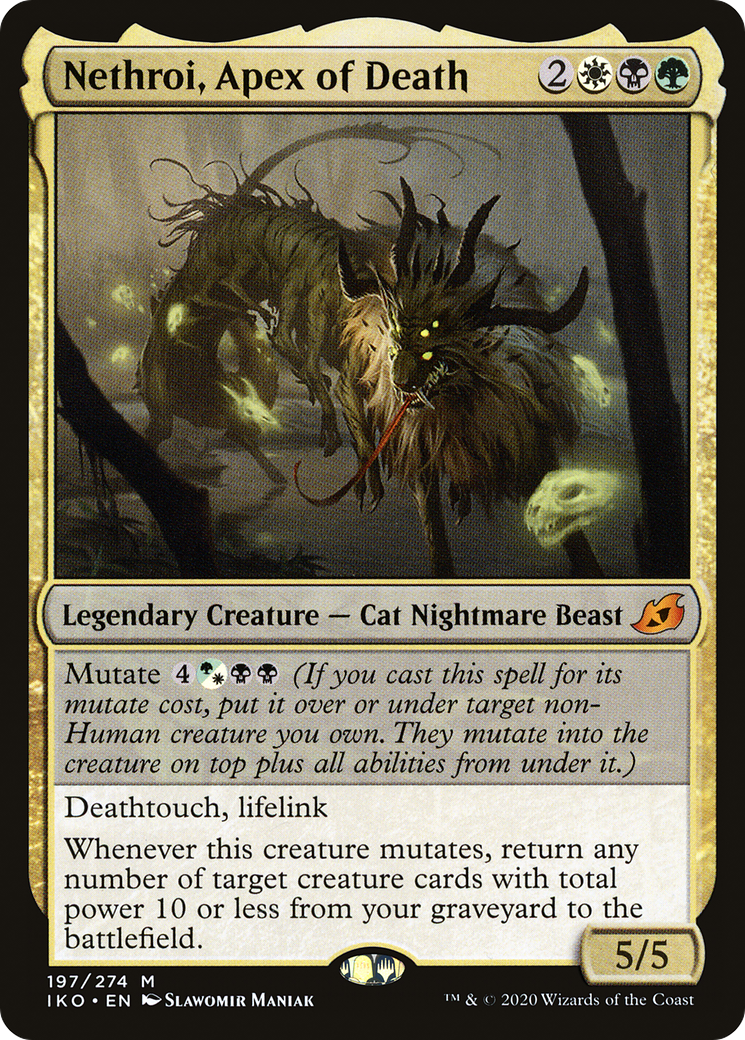 Mutate {4}{G/W}{B}{B} (If you cast this spell for its mutate cost, put it over or under target non-Human creature you own. They mutate into the creature on top plus all abilities from under it.) Deathtouch, lifelink Whenever this creature mutates, return any number of target creature cards with total power 10 or less from your graveyard to the battlefield.