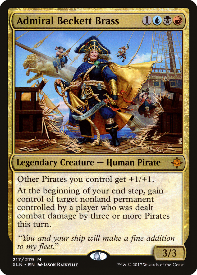 Other Pirates you control get +1/+1. At the beginning of your end step, gain control of target nonland permanent controlled by a player who was dealt combat damage by three or more Pirates this turn.