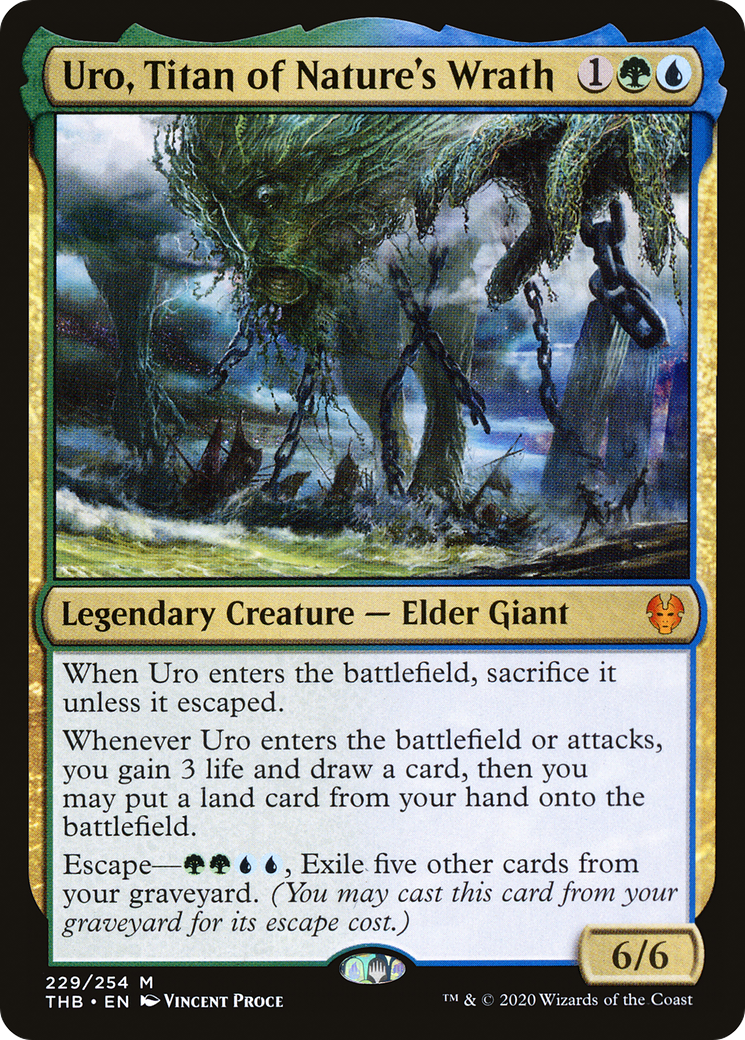 When Uro enters the battlefield, sacrifice it unless it escaped. Whenever Uro enters the battlefield or attacks, you gain 3 life and draw a card, then you may put a land card from your hand onto the battlefield. Escape—{G}{G}{U}{U}, Exile five other cards from your graveyard. (You may cast this card from your graveyard for its escape cost.)