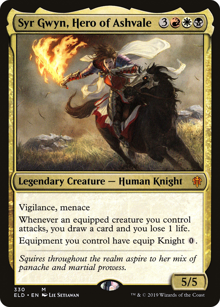 Vigilance, menace Whenever an equipped creature you control attacks, you draw a card and you lose 1 life. Equipment you control have equip Knight {0}.