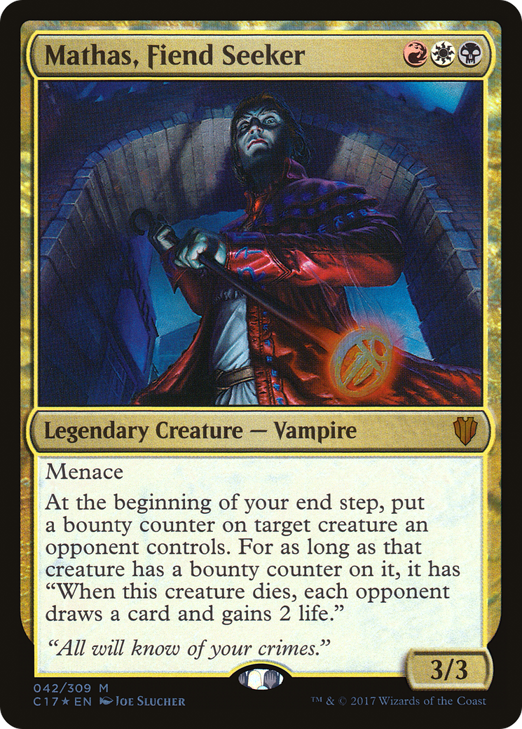 """Menace At the beginning of your end step, put a bounty counter on target creature an opponent controls. For as long as that creature has a bounty counter on it, it has """"When this creature dies, each opponent draws a card and gains 2 life."""""""