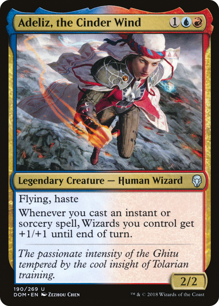 Flying, haste Whenever you cast an instant or sorcery spell, Wizards you control get +1/+1 until end of turn.