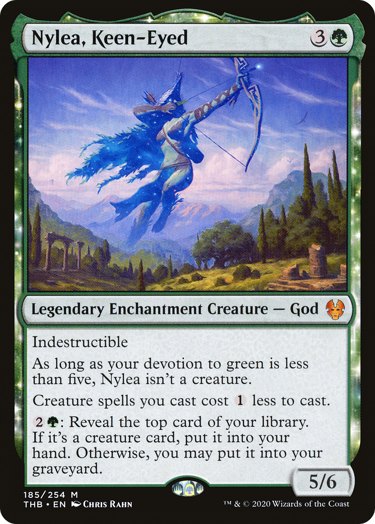 Indestructible As long as your devotion to green is less than five, Nylea isn't a creature. Creature spells you cast cost {1} less to cast. {2}{G}: Reveal the top card of your library. If it's a creature card, put it into your hand. Otherwise, you may put it into your graveyard.