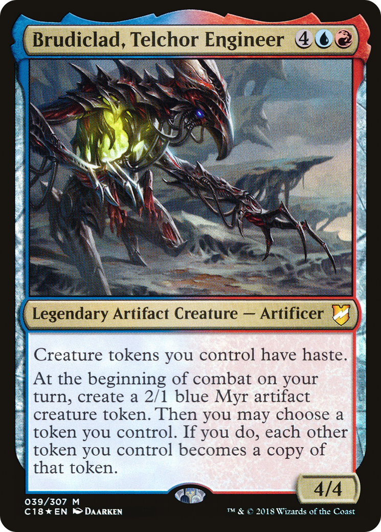 Creature tokens you control have haste. At the beginning of combat on your turn, create a 2/1 blue Myr artifact creature token. Then you may choose a token you control. If you do, each other token you control becomes a copy of that token.