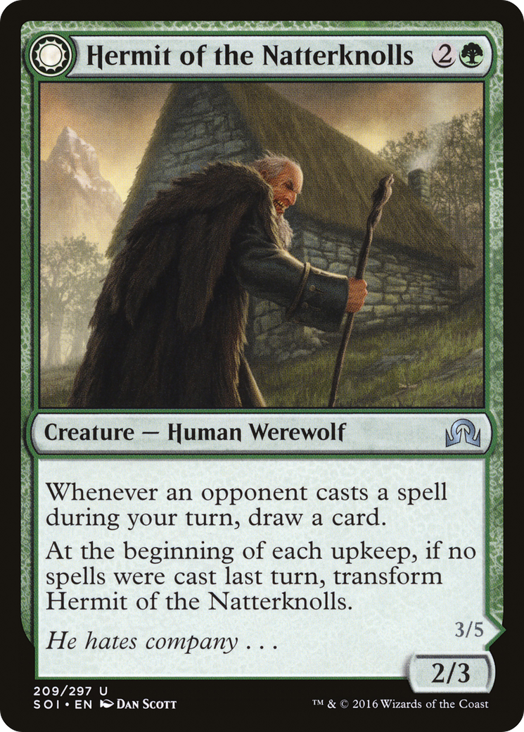 Hermit of the Natterknolls // Lone Wolf of the Natterknolls (Shadows over  Innistrad)