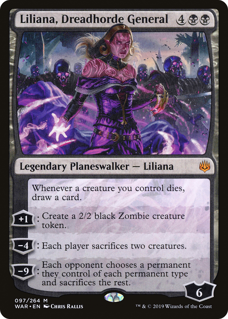 Whenever a creature you control dies, draw a card. +1: Create a 2/2 black Zombie creature token. −4: Each player sacrifices two creatures. −9: Each opponent chooses a permanent they control of each permanent type and sacrifices the rest.