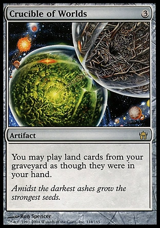 Crucible of Worlds (3, 3) 0/0 Artifact You may play land cards from your graveyard. Tenth Edition: Rare, Fifth Dawn: Rare