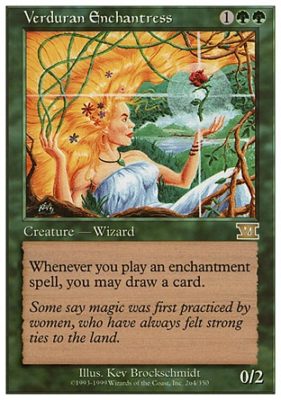 Verduran Enchantress (3, 1GG) 0/2 Creature  — Human Druid Whenever you cast an enchantment spell, you may draw a card. Ninth Edition: Rare, Eighth Edition: Rare, Seventh Edition: Rare, Classic (Sixth Edition): Rare, Fifth Edition: Rare, Fourth Edition: Rare, Revised Edition: Rare, Unlimited Edition: Rare, Limited Edition Beta: Rare, Limited Edition Alpha: Rare