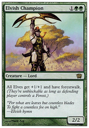 Elvish Champion (3, 1GG) 2/2 Creature  — Elf Other Elf creatures get +1/+1 and have forestwalk. (They're unblockable as long as defending player controls a Forest.) Tenth Edition: Rare, Ninth Edition: Rare, Eighth Edition: Rare, Seventh Edition: Rare, Invasion: Rare