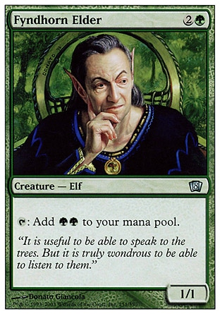 Fyndhorn Elder (3, 2G) 1/1\nCreature  — Elf Druid\n{T}: Add {G}{G} to your mana pool.\nEighth Edition: Uncommon, Seventh Edition: Uncommon, Classic (Sixth Edition): Uncommon, Fifth Edition: Uncommon, Ice Age: Uncommon\n\n