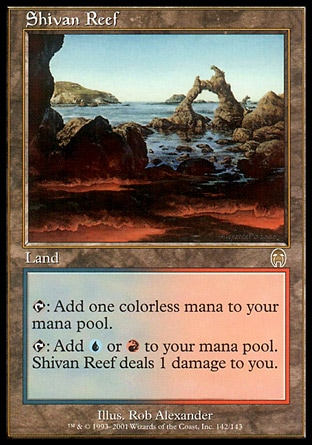 Shivan Reef (0, ) 0/0 Land {T}: Add {1} to your mana pool.<br /> {T}: Add {U} or {R} to your mana pool. Shivan Reef deals 1 damage to you. Tenth Edition: Rare, Ninth Edition: Rare, Apocalypse: Rare