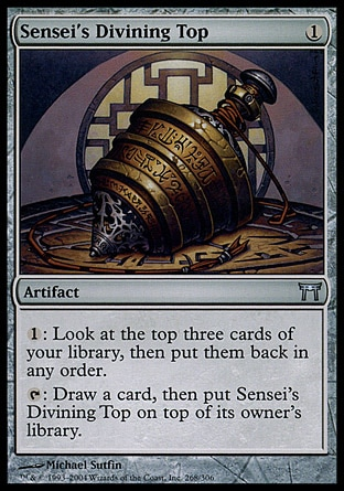 Sensei's Divining Top (1, 1) 0/0 Artifact {1}: Look at the top three cards of your library, then put them back in any order.<br /> {T}: Draw a card, then put Sensei's Divining Top on top of its owner's library. From the Vault: Exiled: Mythic Rare, Champions of Kamigawa: Uncommon