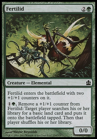 Fertilid (3, 2G) 0/0\nCreature  — Elemental\nFertilid enters the battlefield with two +1/+1 counters on it.<br />\n{1}{G}, Remove a +1/+1 counter from Fertilid: Target player searches his or her library for a basic land card and puts it onto the battlefield tapped. Then that player shuffles his or her library.\nCommander: Common, Archenemy: Common, Planechase: Common, Morningtide: Common\n\n