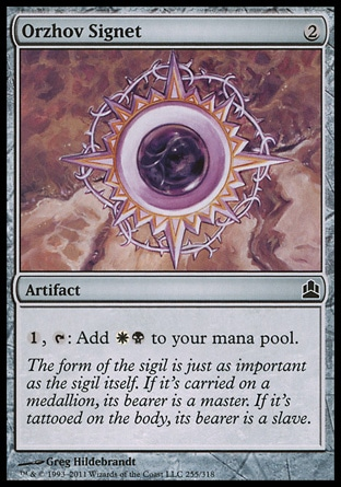 Orzhov Signet (2, 2) \nArtifact\n{1}, {T}: Add {W}{B} to your mana pool.\nCommander: Common, Guildpact: Common\n\n