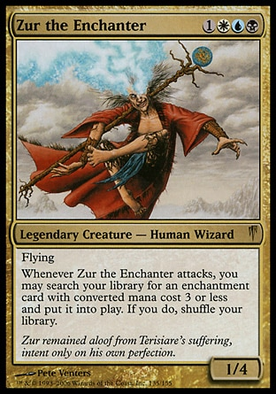 Zur the Enchanter (4, 1WUB) 1/4\nLegendary Creature  — Human Wizard\nFlying<br />\nWhenever Zur the Enchanter attacks, you may search your library for an enchantment card with converted mana cost 3 or less and put it onto the battlefield. If you do, shuffle your library.\nColdsnap: Rare\n\n