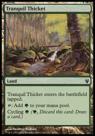 Tranquil Thicket (0, ) 0/0\nLand\nTranquil Thicket enters the battlefield tapped.<br />\n{T}: Add {G} to your mana pool.<br />\nCycling {G} ({G}, Discard this card: Draw a card.)\nDuel Decks: Izzet vs. Golgari: Common, Commander: Common, Archenemy: Common, Duel Decks: Elves vs. Goblins: Common, Onslaught: Common\n\n
