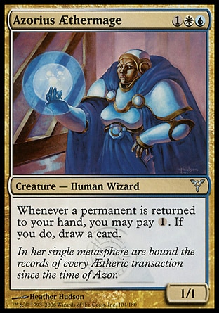 Azorius Æthermage (3, 1WU) 1/1\nCreature  — Human Wizard\nWhenever a permanent is returned to your hand, you may pay {1}. If you do, draw a card.\nDissension: Uncommon\n\n