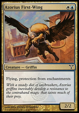 Azorius First-Wing (2, WU) 2/2\nCreature  — Griffin\nFlying, protection from enchantments\nDissension: Common\n\n