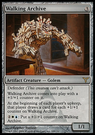 Walking Archive (3, 3) 1/1\nArtifact Creature  — Golem\nDefender (This creature can't attack.)<br />\nWalking Archive enters the battlefield with a +1/+1 counter on it.<br />\nAt the beginning of each player's upkeep, that player draws a card for each +1/+1 counter on Walking Archive.<br />\n{2}{W}{U}: Put a +1/+1 counter on Walking Archive.\nDissension: Rare\n\n