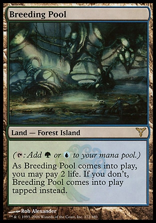 Breeding Pool (0, ) 0/0 Land  — Forest Island ({T}: Add {G} or {U} to your mana pool.)<br /> As Breeding Pool enters the battlefield, you may pay 2 life. If you don't, Breeding Pool enters the battlefield tapped. Dissension: Rare