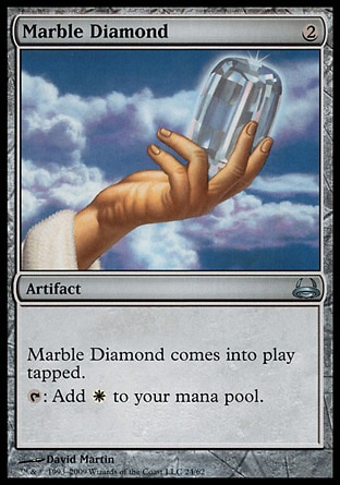Marble Diamond (2, 2) 0/0\nArtifact\nMarble Diamond enters the battlefield tapped.<br />\n{T}: Add {W} to your mana pool.\nDuel Decks: Divine vs. Demonic: Uncommon, Seventh Edition: Uncommon, Classic (Sixth Edition): Uncommon, Mirage: Uncommon\n\n