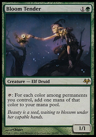 Bloom Tender (2, 1G) 1/1 Creature  — Elf Druid {T}: For each color among permanents you control, add one mana of that color to your mana pool. Eventide: Rare
