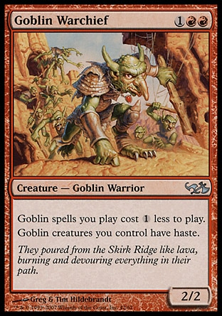 Siege-Gang Commander (5, 3RR) 2/2 Creature  — Goblin When Siege-Gang Commander enters the battlefield, put three 1/1 red Goblin creature tokens onto the battlefield.<br /> {1}{R}, Sacrifice a Goblin: Siege-Gang Commander deals 2 damage to target creature or player. Magic 2010: Rare, Duel Decks: Elves vs. Goblins: Rare, Tenth Edition: Rare, Scourge: Rare