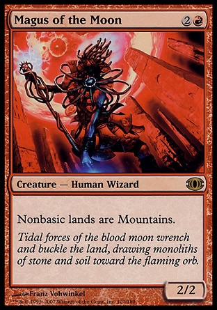 Magus of the Moon (3, 2R) 2/2\nCreature  — Human Wizard\nNonbasic lands are Mountains.\nFuture Sight: Rare\n\n