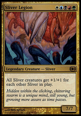 Sliver Legion (5, WUBRG) 7/7 Legendary Creature  — Sliver All Sliver creatures get +1/+1 for each other Sliver on the battlefield. Future Sight: Rare