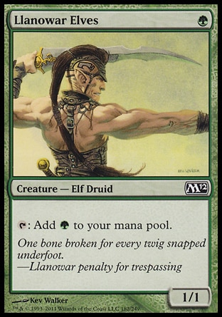 Llanowar Elves (1, G) 1/1\nCreature  — Elf Druid\n{T}: Add {G} to your mana pool.\nMagic 2012: Common, Magic 2011: Common, Magic 2010: Common, Duel Decks: Elves vs. Goblins: Common, Tenth Edition: Common, Ninth Edition: Common, Seventh Edition: Common, Beatdown: Common, Starter 2000: Common, Battle Royale: Common, Classic (Sixth Edition): Common, Fifth Edition: Common, Fourth Edition: Common, Revised Edition: Common, Unlimited Edition: Common, Limited Edition Beta: Common, Limited Edition Alpha: Common\n\n