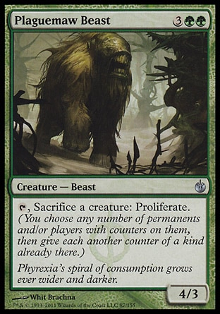 Plaguemaw Beast (5, 3GG) 4/3\nCreature  — Beast\n{T}, Sacrifice a creature: Proliferate. (You choose any number of permanents and/or players with counters on them, then give each another counter of a kind already there.)\nMirrodin Besieged: Uncommon\n\n