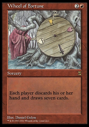 Wheel of Fortune (3, 2R) 0/0\nSorcery\nEach player discards his or her hand and draws seven cards.\nMasters Edition IV: Rare, Revised Edition: Rare, Unlimited Edition: Rare, Limited Edition Beta: Rare, Limited Edition Alpha: Rare\n\n