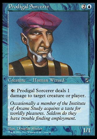 """Prodigal Sorcerer (3, 2U) 1/1\nCreature  — Human Wizard\n{T}: Prodigal Sorcerer deals 1 damage to target creature or player.\nMasters Edition IV: Uncommon, Time Spiral """"Timeshifted"""": Special, Seventh Edition: Common, Starter 2000: Common, Battle Royale: Common, Classic (Sixth Edition): Common, Fifth Edition: Common, Fourth Edition: Common, Revised Edition: Common, Unlimited Edition: Common, Limited Edition Beta: Common, Limited Edition Alpha: Common\n\n"""