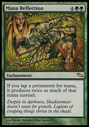 Mana Reflection (6, 4GG) 0/0\nEnchantment\nIf you tap a permanent for mana, it produces twice as much of that mana instead.\nShadowmoor: Rare\n\n