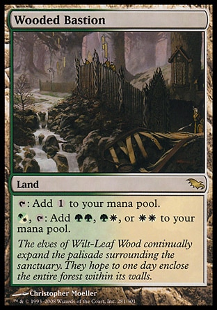 Wooded Bastion (0, ) 0/0 Land {T}: Add {1} to your mana pool.<br /> {(g/w)}, {T}: Add {G}{G}, {G}{W}, or {W}{W} to your mana pool. Shadowmoor: Rare