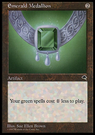 Emerald Medallion (2, 2) 0/0 Artifact Green spells you cast cost {1} less to cast. Tempest: Rare